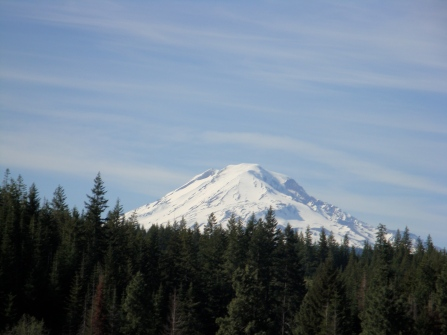 throughout the Klickitat River area are views of Mt. Adams
