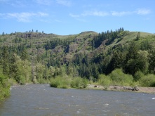 the wide river meanders through hills of pines and oaks