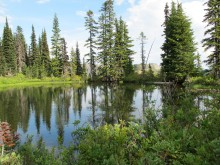 a beautiful alpine lake along a trial above Reflection Lake