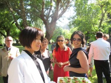 friends and family enjoying delicious food and savoring the good vibes of the ceremony