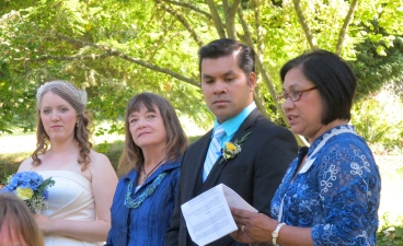Carlos's eldest sister Ofie read the same beautiful bible passage she read at the L.A. wedding.