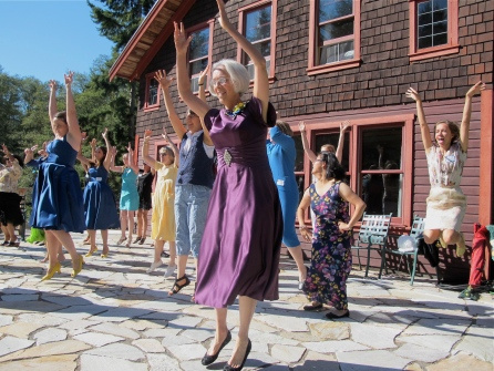 the surprise flash mob dance which was choreographed by Kira's long time friend Andrea and performed at their reception in LA was repeated at the Whidbey celebration