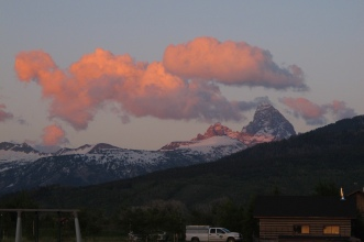 Sunset over the Grand Teton on our first night, from the house we stayed in on the Driggs, Idaho side.