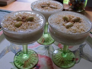 Cardamon tapioca pudding with toasted coconut & almonds.