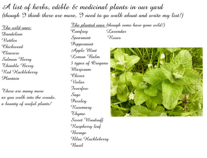 A list of herbs,