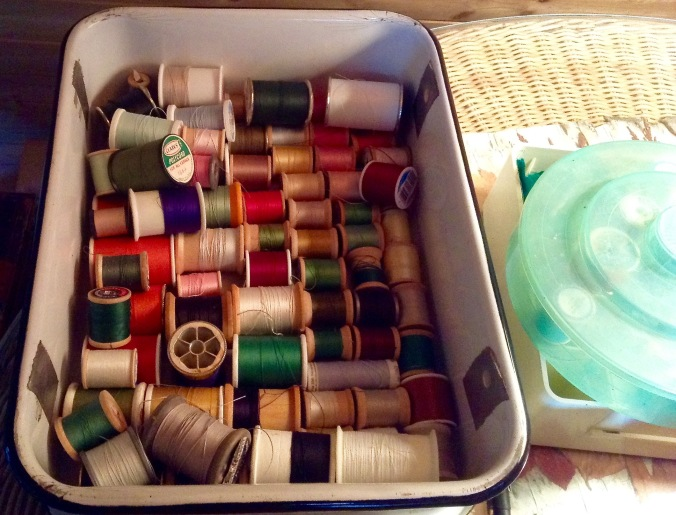 my thread collection, some inherited, all representing a project of mine or someones! The little green box was a thread box of my mom's.
