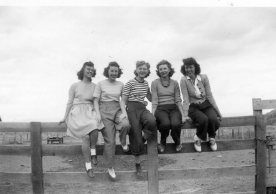 Ruth with girl friends, spring 1944